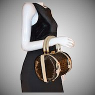 1960s Tano of Madrid ~ Black Straw & Leather Barrel Purse