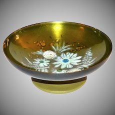 1970s Sascha Brastoff ~ Painted Green Copper Enamel Compote