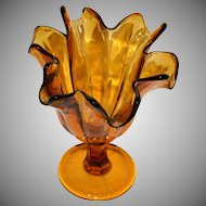 1970s Tortured Amber Art Glass Handkerchief Vase