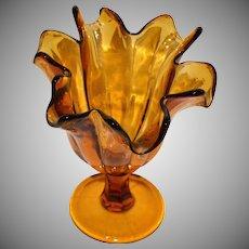 1970s Tortured Amber Art Glass Handkerchief Vase