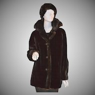 1960s AVS ~ Chocolate Brown Faux Mink Fur Coat w/ Matching Hat