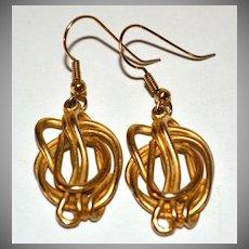 1970s Tortured Metal Goldtone Dangle Earrings