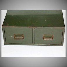 Industrial Grunge Green 2-Drawer Metal File Cabinet