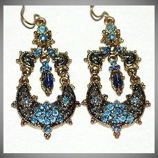 VTG Etruscan Style Blue Rhinestone Dangle Earrings
