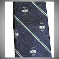 Wm Chelsea ~ Caduceus Snake & Book of Numbers Navy Blue Tie