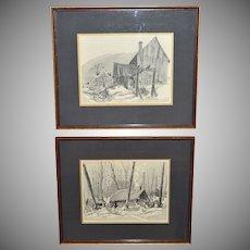 1969 Signed Set of 2 Old Shack House Framed Prints