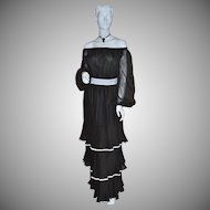 1970s Jack Bryan ~ Black Triple-Tiered Dress w/ Original Tag