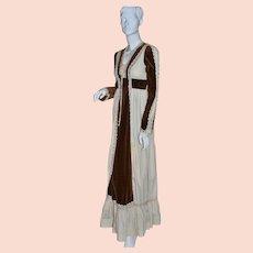 1970s Gunne Sax ~ Renaissance Brown Velvet & Lace Maxi Dress