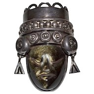 Los Ballesteros ~ Obsidian Face Mask Sterling Silver Pendant/Pin
