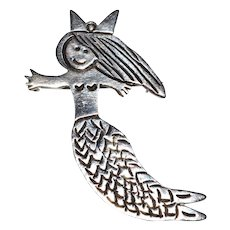 Los Castillo ~ Sterling Silver Mermaid Brooch/Pin