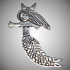 Los Castillo ~ Sterling Silver Mermaid Brooch/Pin