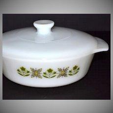 1960/70s Fire King: 1 QT Meadow Green Casserole Dish w/ Lid