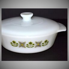 1960/70s Fire King: 1 QT Meadow Green Casserole Dish w/ Lid