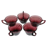 Hazel Atlas ~ Set of 5 Purple Amethyst Moroccan Cups