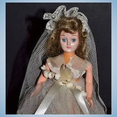 1950s Sleepy-Eye Bride Doll Cake Topper w/ Container