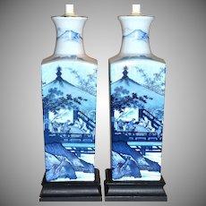 Pair of Asian Motif Blue Transferware Ceramic Lamps