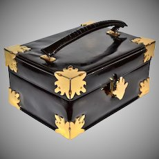 1940s Nettie Rosenstein ~ Black Patent Leather Box Purse
