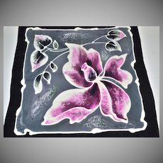 Signed Black & Purple Hibiscus Silk Scarf