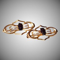 Art Deco Pair of Amethyst Glass Gold-Filled Lingerie Pins