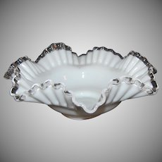 Fenton Silver Crest White Milk Glass Candy or Fruit Dish