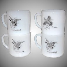 1970s Federal Glass ~ Set of 4 Game Bird Fowl Mugs