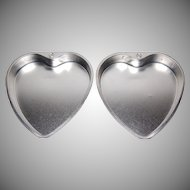 1950s Set of 2 West Germany Heart Aluminum Cake Pans