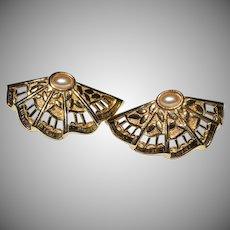 AVON Simulated Pearl Fan Shaped Goldtone Earrings