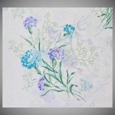 1970s Tastemaker ~ Blue Carnation No-Iron Twin Flat Sheet