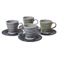 Baldelli Mid-Modern Century 8-Pc Ceramic Demitasse Cup & Saucer Set