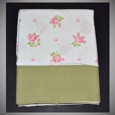 1970s Wamsutta ~ Pink Rose w/ Avocado Green Trim Double Flat Sheet