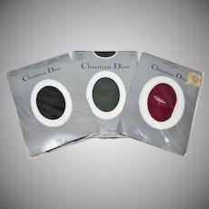 Christian Dior Set of 3 Pantyhose: Black, Cypress Green & Bordeaux Stockings
