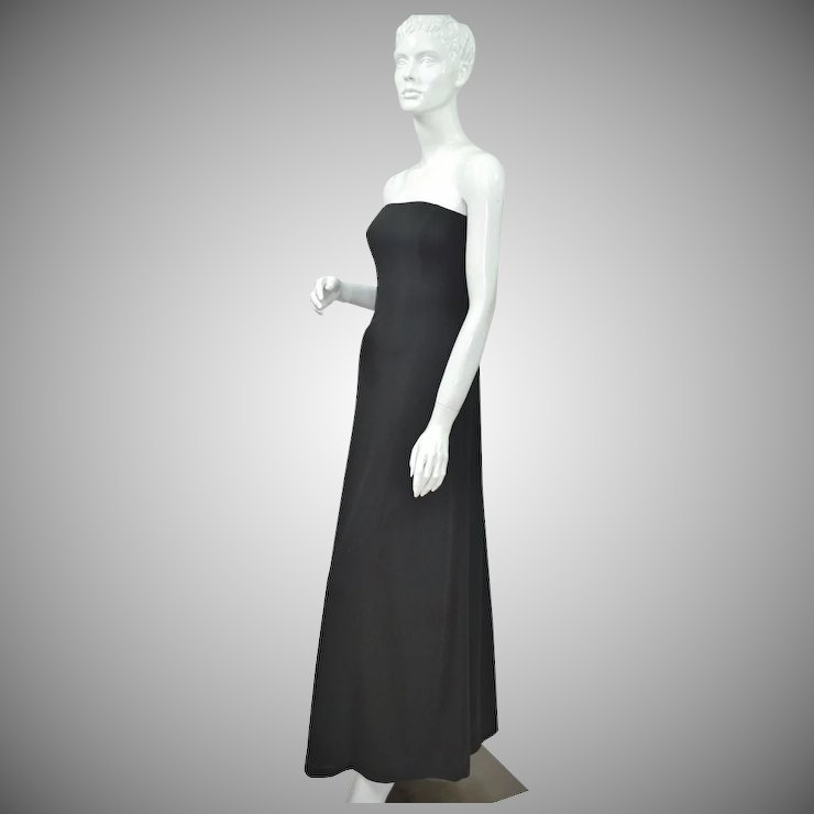 1970s Lillie Rubin ~ Black Strapless Evening Gown : Black Widow ...