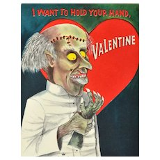 "Hallmark Signed ""I Want To Hold Your Hand, Valentine"" Gothic Valentine's Day Card"
