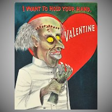 """Hallmark Signed """"I Want To Hold Your Hand, Valentine"""" Gothic Valentine's Day Card"""