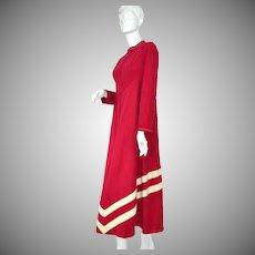 1970s Vassarette ~ Burgundy Red Striped Loungewear