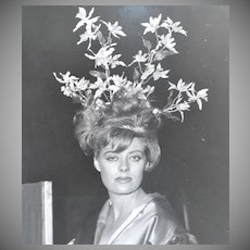 Circa 1960s Flower Bouquet in Woman's Hair Original B & W 8x10 Surreal Photograph