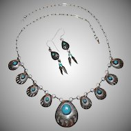 Sterling & Turquoise Bear Claw Necklace & Earrings Demi-Parure