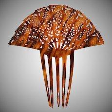 Huge Art Deco Faux Tortoise Shell Celluloid Hair Comb