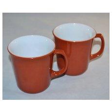 1970s Corning ~ Set of 2 Cinnamon Rust Milk Glass Mugs