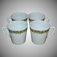 Circa 1970s Pyrex Crazy Daisy or Spring Blossom Set of 4 White Milk Glass D-Handle Mugs