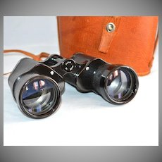 Large Black Binoculars w/ Original Leather Case