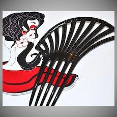Large Black Rhinestone Spanish-Inspired Hair Comb