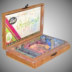 1950s Rembrandt Pastels in Original Wood Box