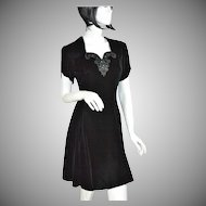 Jessica McClintock Gunne Sax ~ Black Velvet & Rhinestone Mini Dress