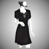 Jessica McClintock Gunne Sax ~ Black Velvet & Rhinestone Mini Dress