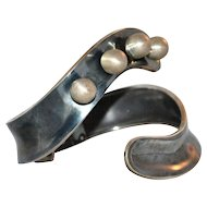 A. Munoz Taxco Anodized Sterling Silver Ball Clamper Bracelet