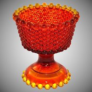 Amberina Orange Hobnail Glass Compote Vase