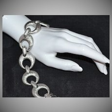 Monet ~ Crescent Moon-Inspired Textured Silvertone Link Bracelet