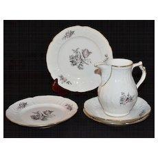 5-Pc Rosenthal Sanssouci Grey Rose White Porcelain China Set