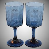 1970s Libbey/Rock Sharpe ~ Set of 2 Dark Blue Wine Glasses